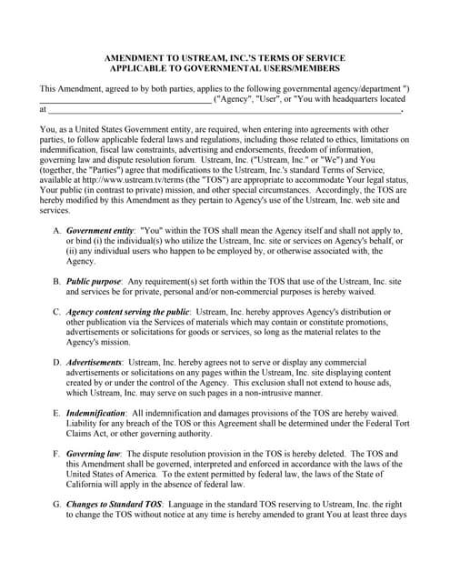Ustream Inc.'s  Terms of Service (TOS) Amendment