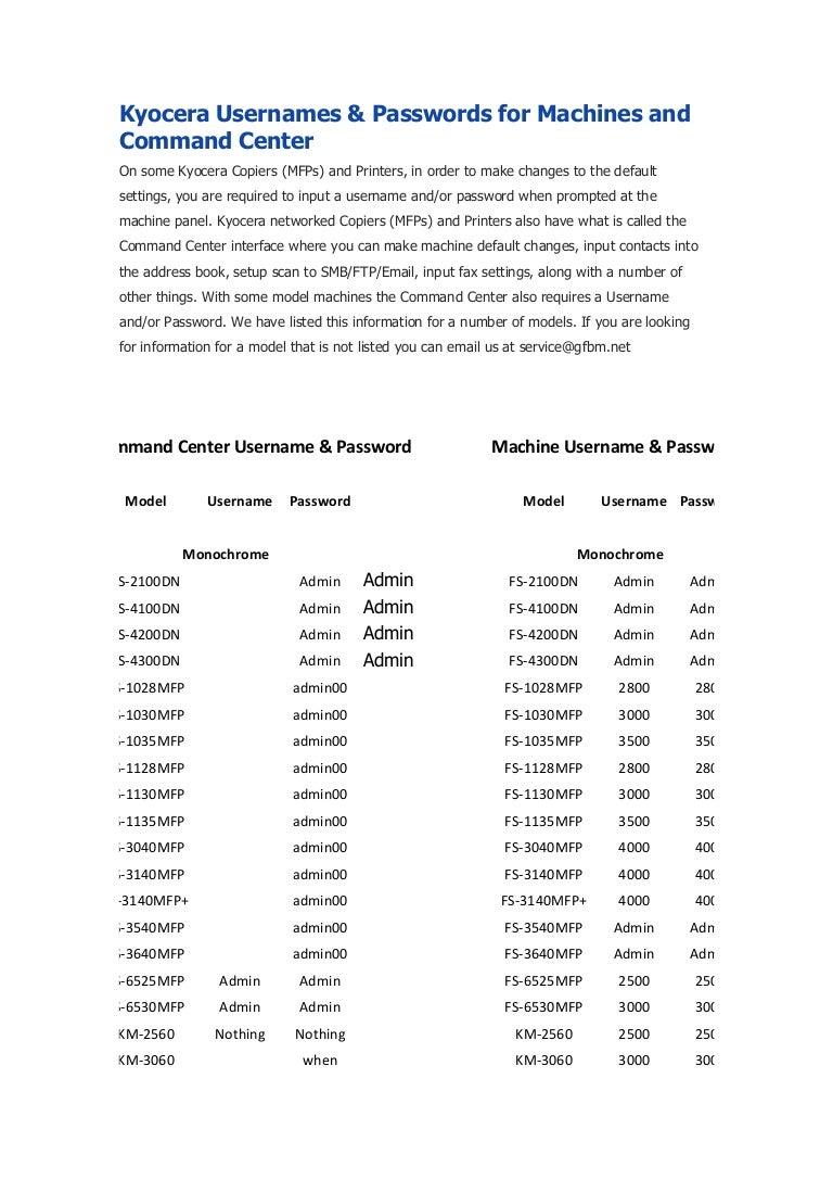 Usuarios y password de acceso a modelos impresoras kyocera
