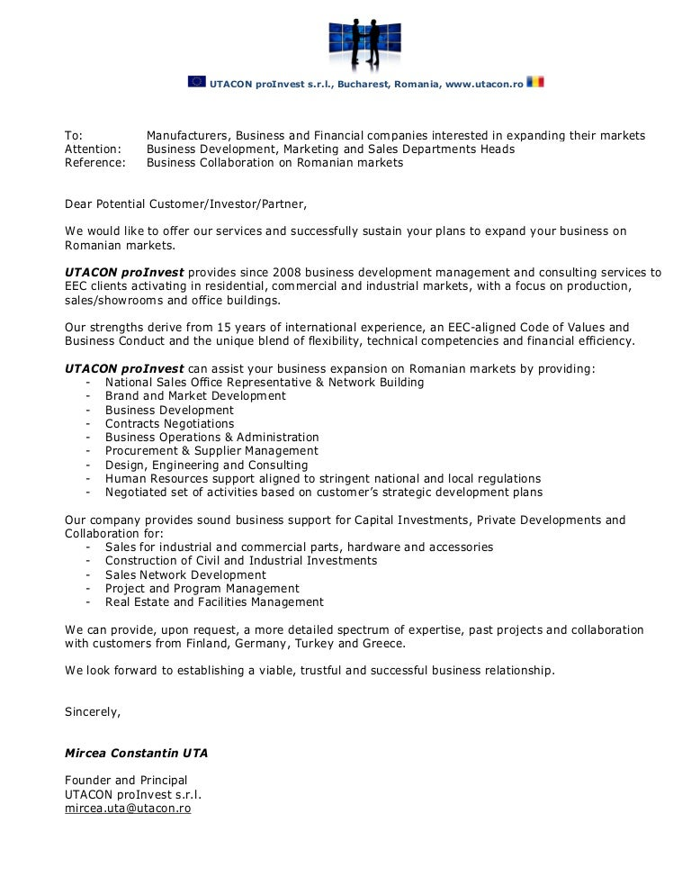 Utacon proinvest business collaboration letter spiritdancerdesigns Images