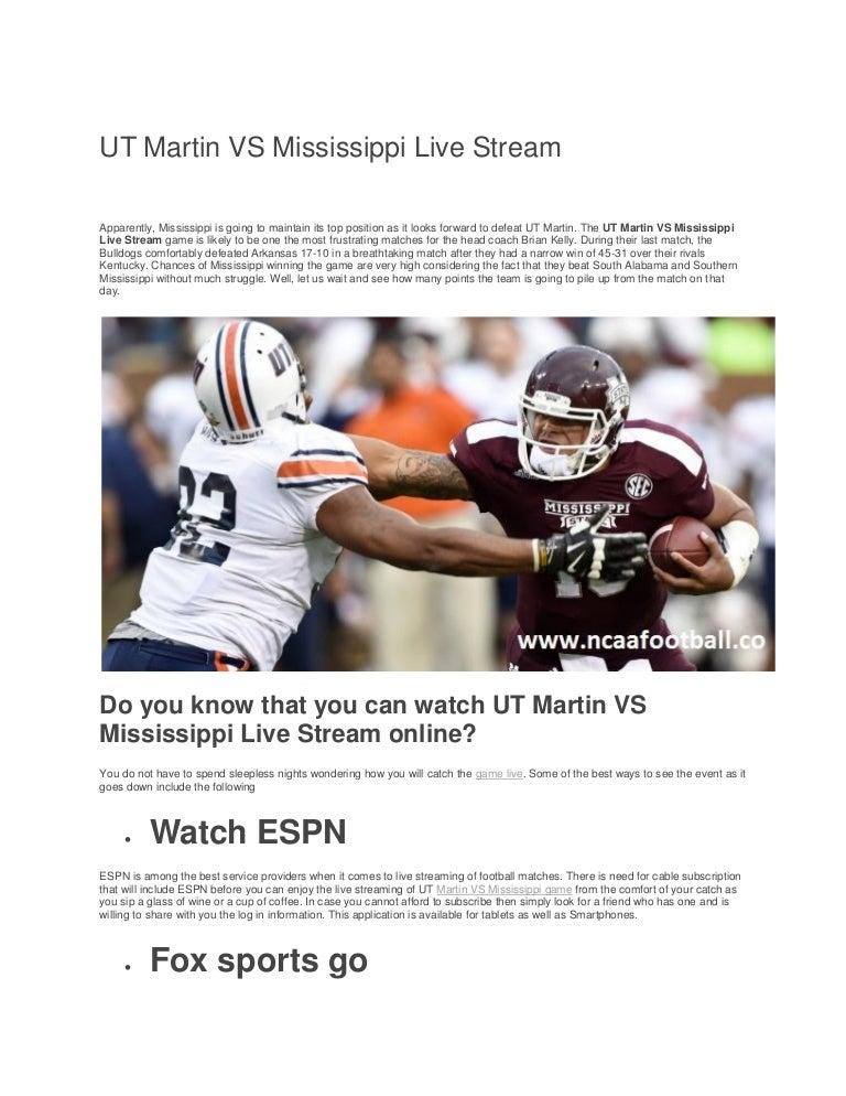 Ut Martin Vs Mississippi Live Stream