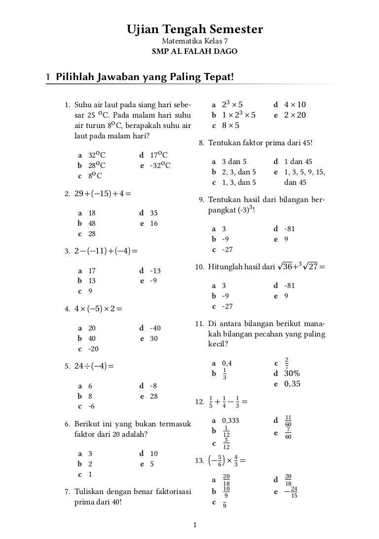 Uts Matematika Kelas 7 Smp Al Falah Dago