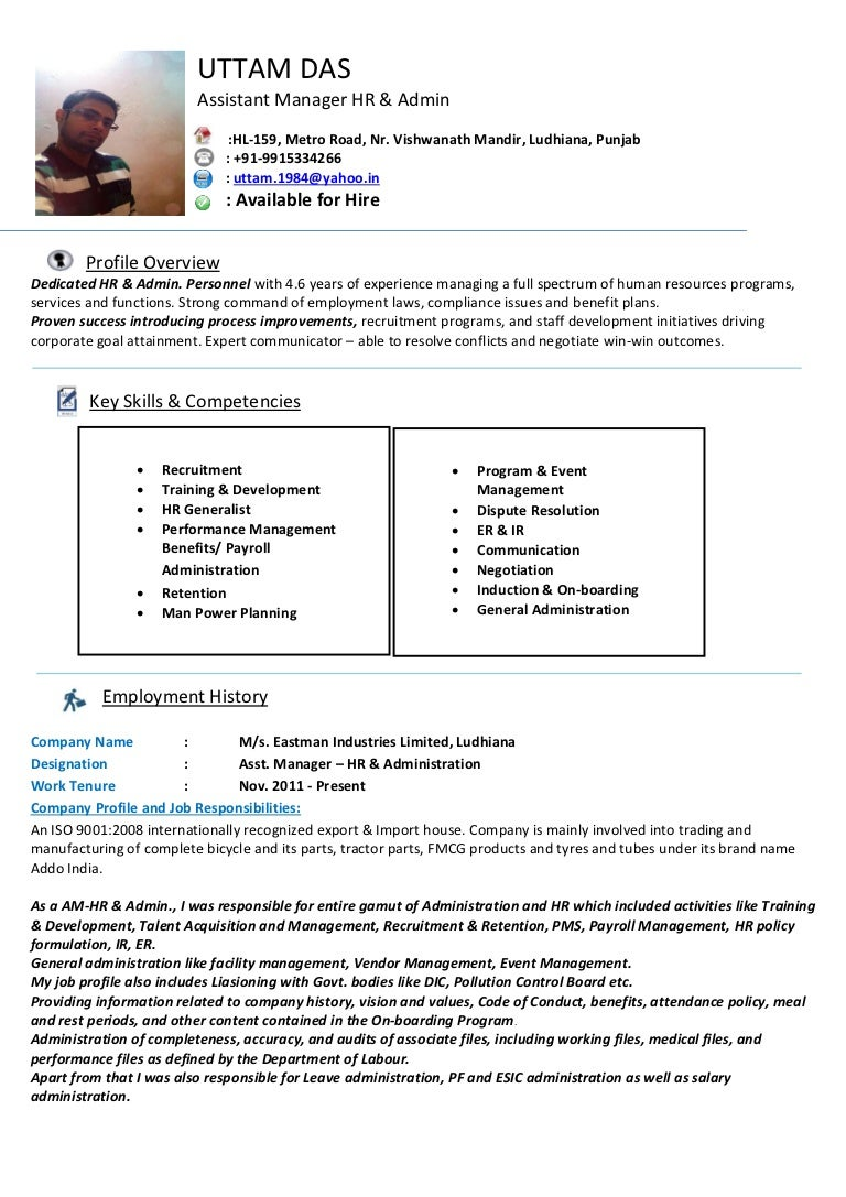 cv for human resources assistant managet hr admin professional ...