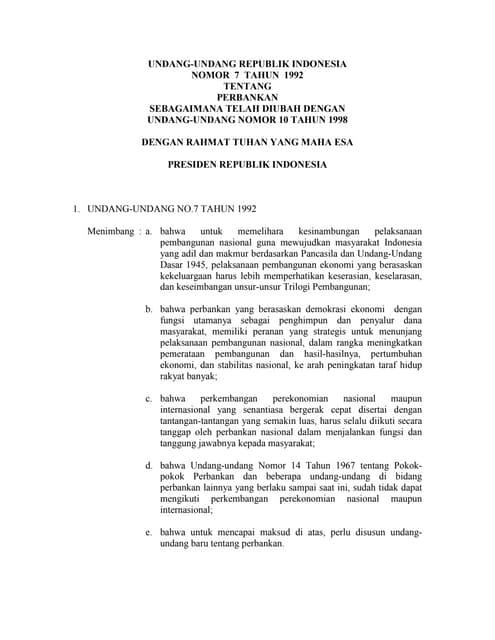 UU Nomor 7 Tahun 1992 Tentang Perbankan sebagaimana diubah UU Nomor 10 Tahun 1998