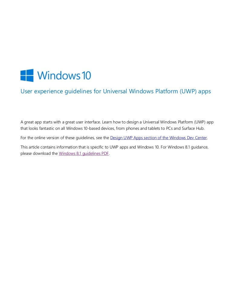 User Experience Guidelines For Universal Windows Platform