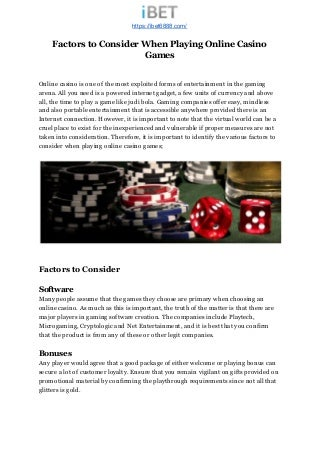Playing Live Online Casino Games for Money -- Factors to Consider