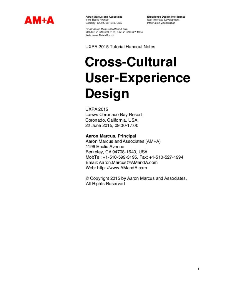 Pre Conference Course Cross Cultural User Experience Design Aaron