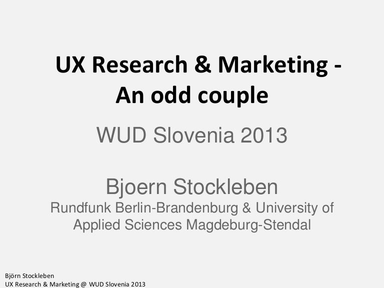 Ux Research  Marketing  An Odd Couple