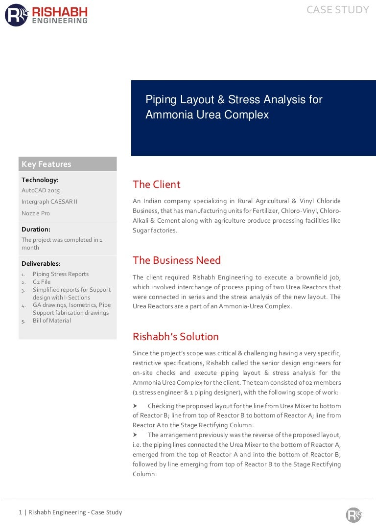 Piping Layout Design Stress Analysis For Urea Reactors Using Autoca Course