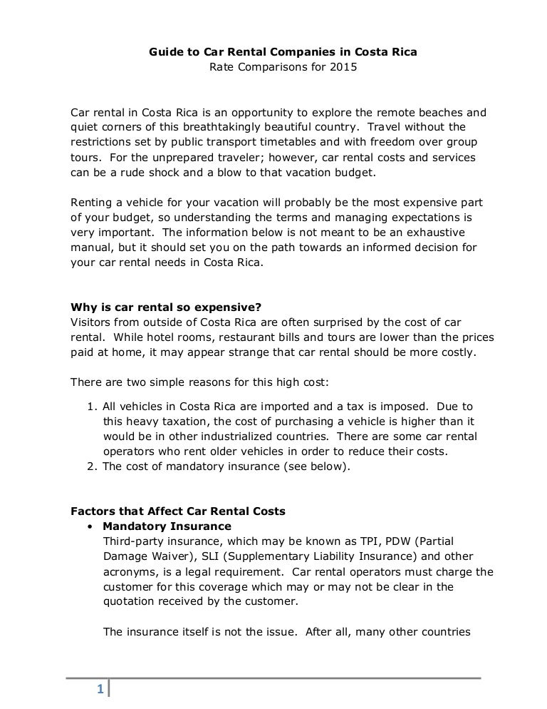 2015 Car Rental Comparisons for Costa Rica – Simple Liability Waiver