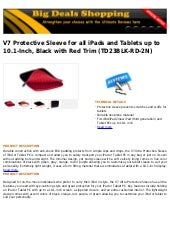 V7 protective sleeve for all i pads and tablets up to 10.1 inch, black with red trim (td23blk-rd-2n)