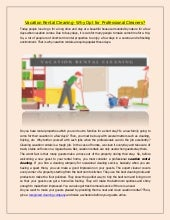 Vacation Rental Cleaning- Why Opt for Professional Cleaners?