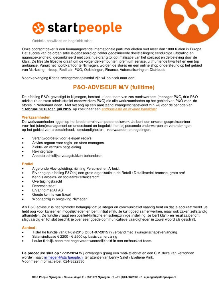 Vacature P&O Adviseur Nijmegen