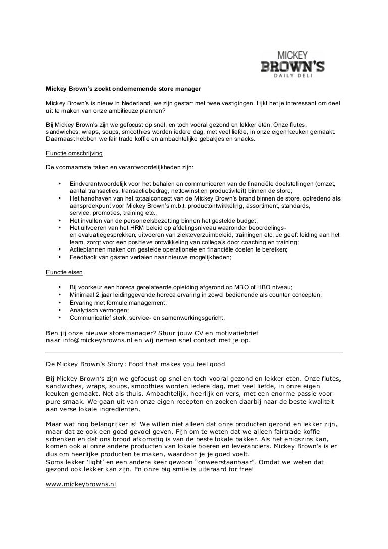 Vacature storemanager mickey browns