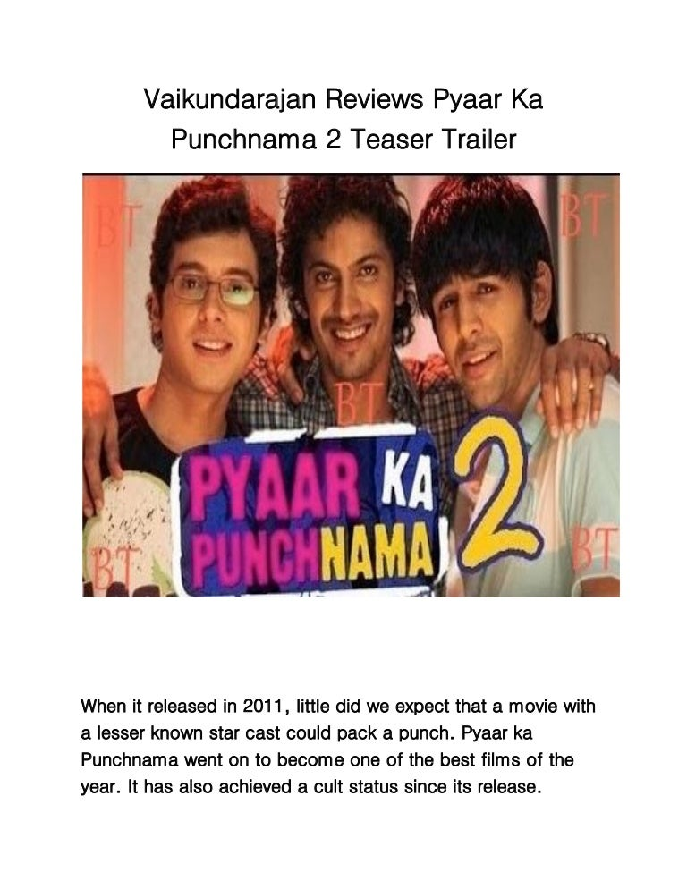 Pyaar Ka Punchnama 2 part 1 full movie in hindi watch online