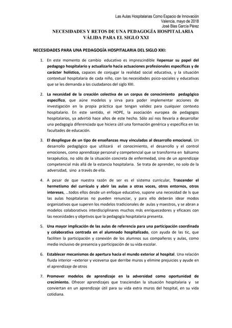 Valencia 2018 NECESIDADES Y RETOS PARA UNA PEDAGOGÍA DEL S. XXI