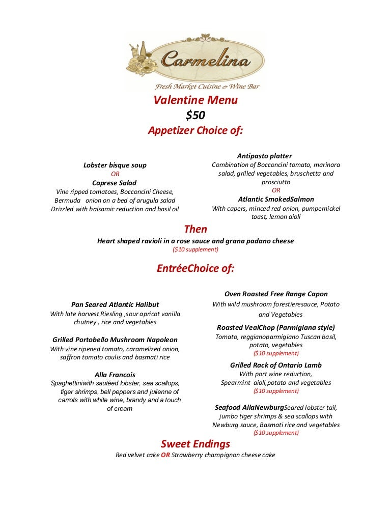 Happy Valentine Day Menu 2015 At Carmelina Reatsurant