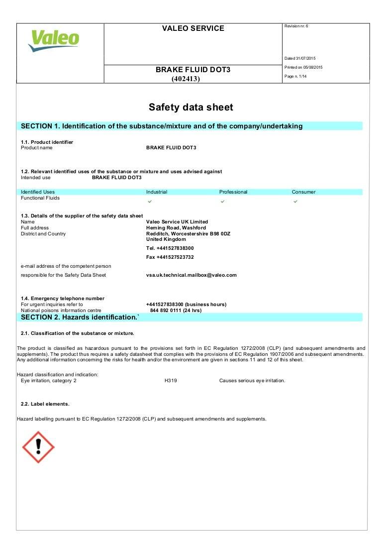 Valeo Braking Systems Brake Fluid Dot3 Material Safety Data Sheet 402