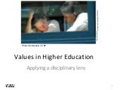 Values in Higher Education: Applying a disciplinary lens