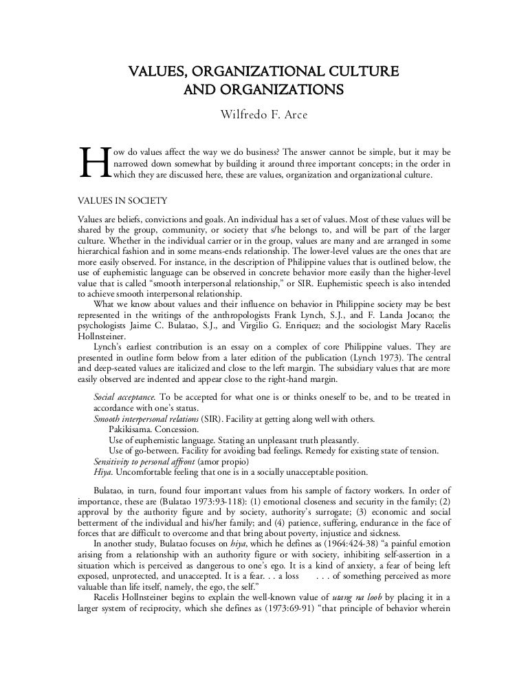 Values, Organizational Culture