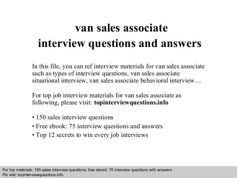 Van sales associate interview questions and answers