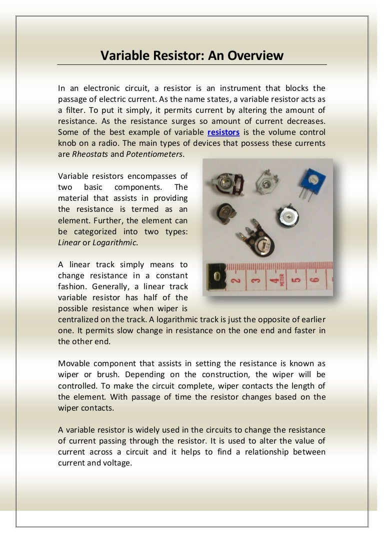 Variable Resistor An Overview Voltage Controlled Pictures