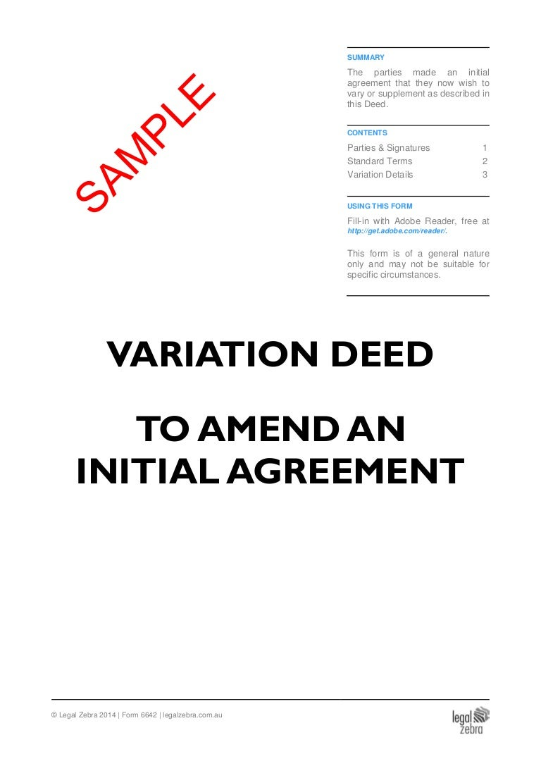 Variation Deed To Amend an Initial Agreement Template Sample – Sample Contract Amendment Template