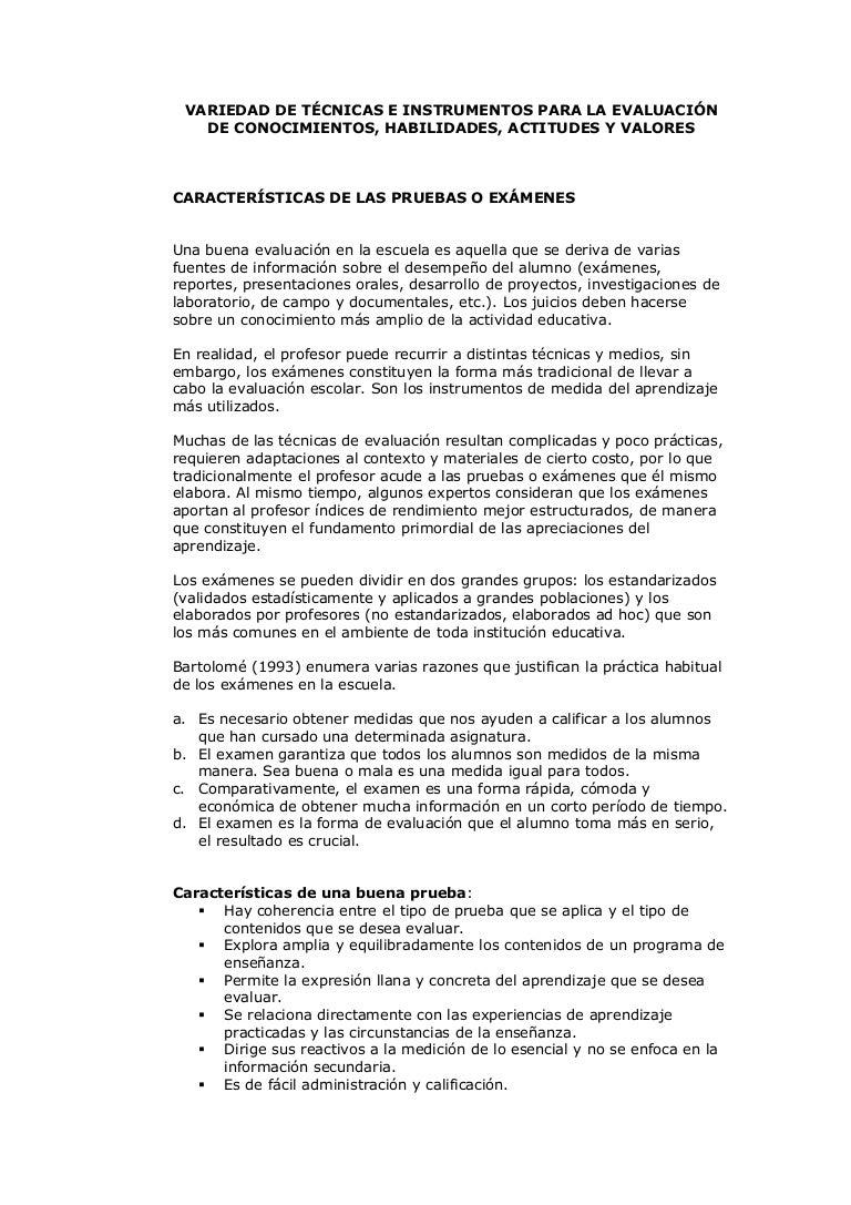 Variedad de técnicas e instrumentos para la evaluación de conocimient…