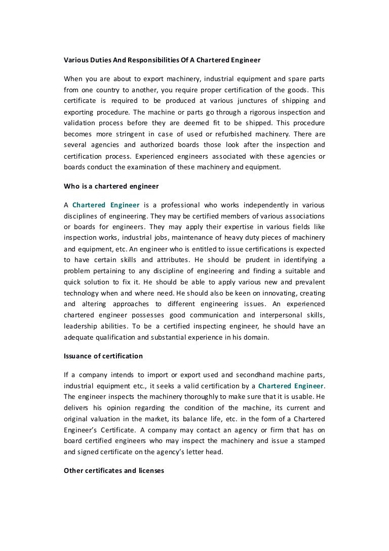 Various Duties And Responsibilities Of A Chartered Engineer