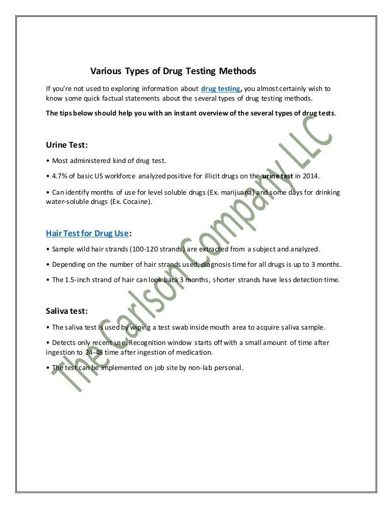 Various Types of Drug Testing Methods