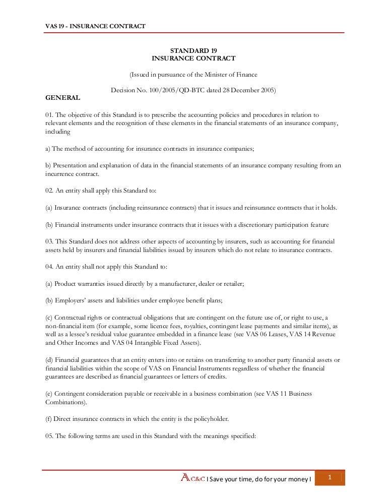 Vietnam Accounting Standards - VAS 19 Insurance Contract