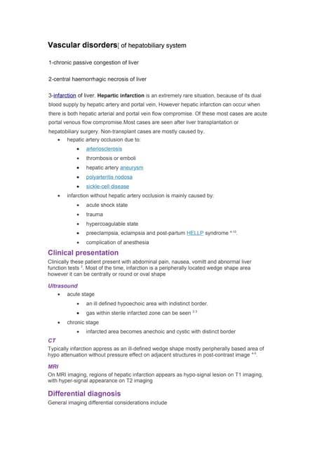 Vascular disordersof hepatobiliary