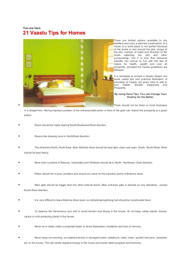 Vasthu 21 vaastu tips for homes 19p Master bedroom in north west direction