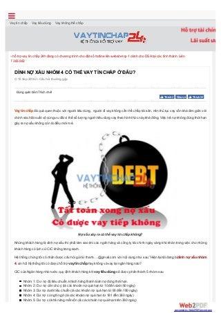 Dính nợ xấu vay tín chấp ở đâu?