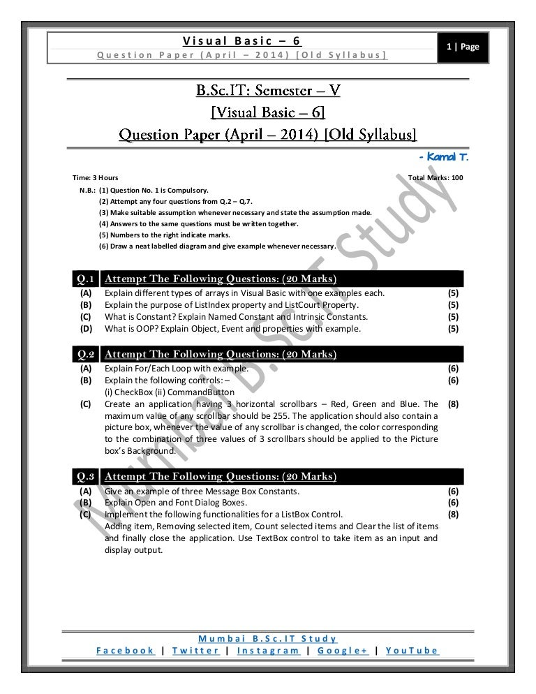 Question Paper] Visual Basic – 6 (Old Syllabus) [April / 2014]