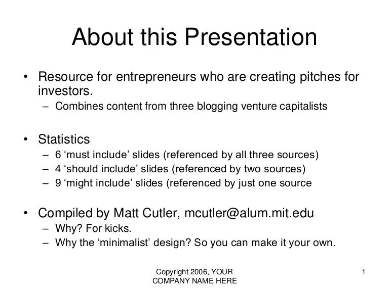 vc pitch - presentation template (the 10/20/30 rule of powerpoint), Presentation templates