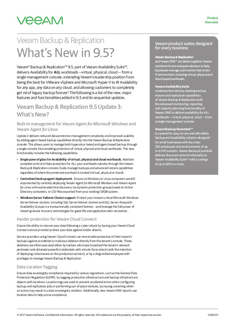 Veeam Backup & Replication What's New in 9 5?