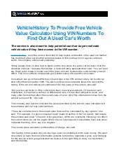 Vehiclehistory To Provide Free Vehicle Value Calculator Using Vin Num