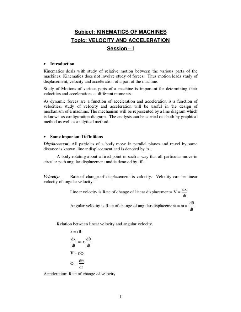 Velo accel dia by relative velo accl method – Angular and Linear Velocity Worksheet