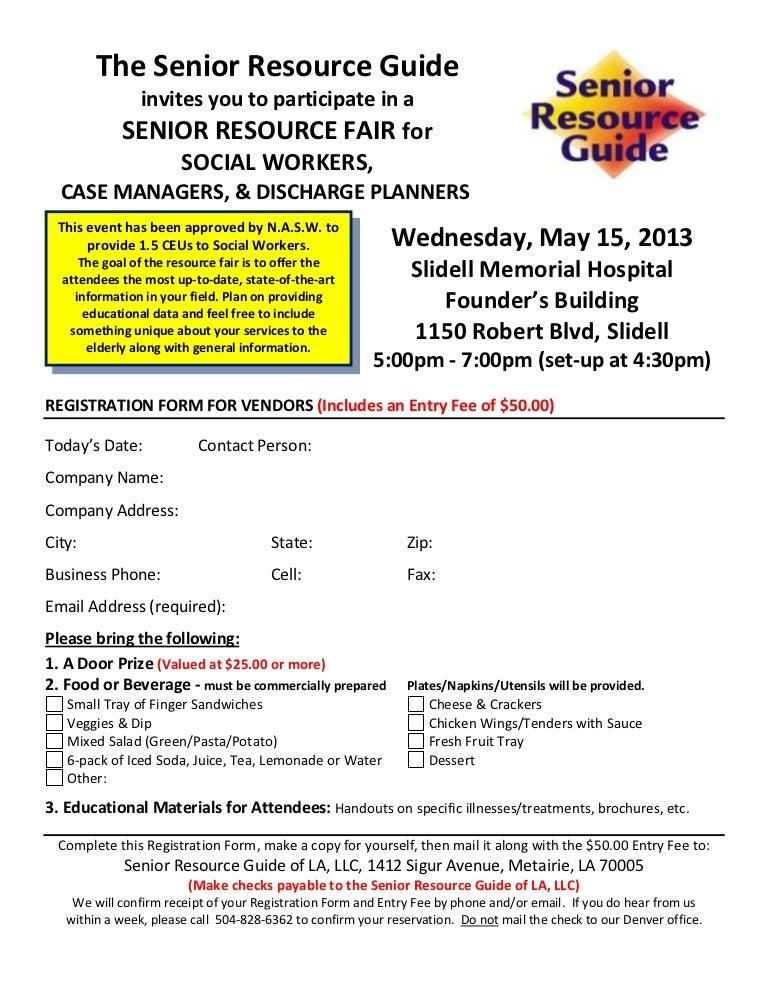 Vendor Registration Form For Senior Resource Fair Smh