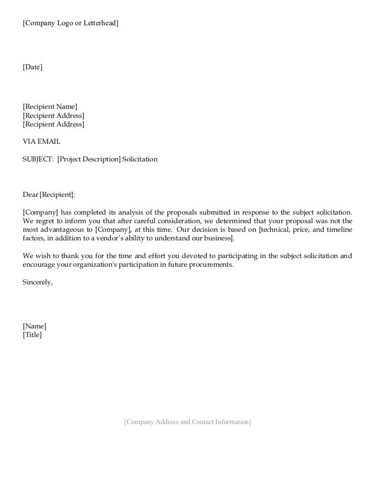 Vendor rejection letter – Rejection Letter Sample