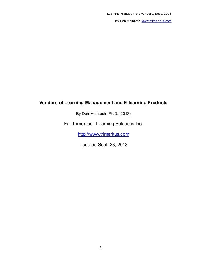 Vendors of Learning Management and E-Learning Products