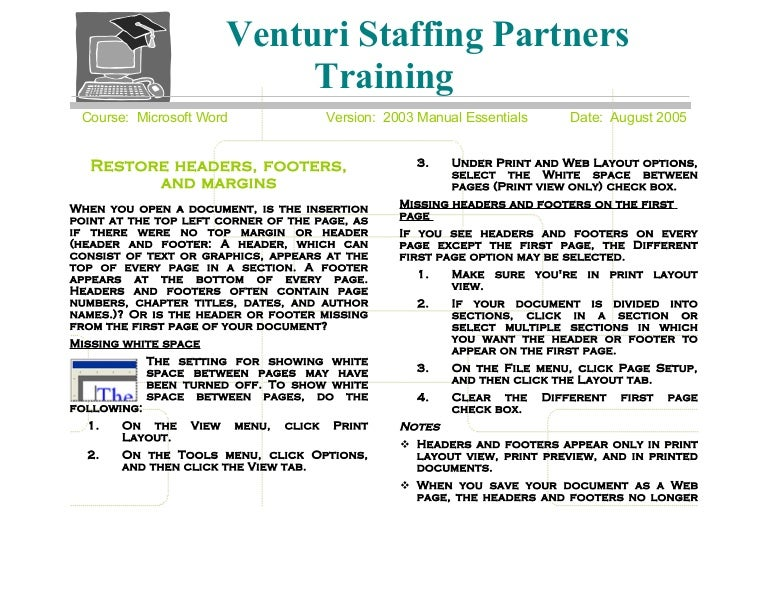 Venturi Ms Word 2003 Training Guide (M. Combs)