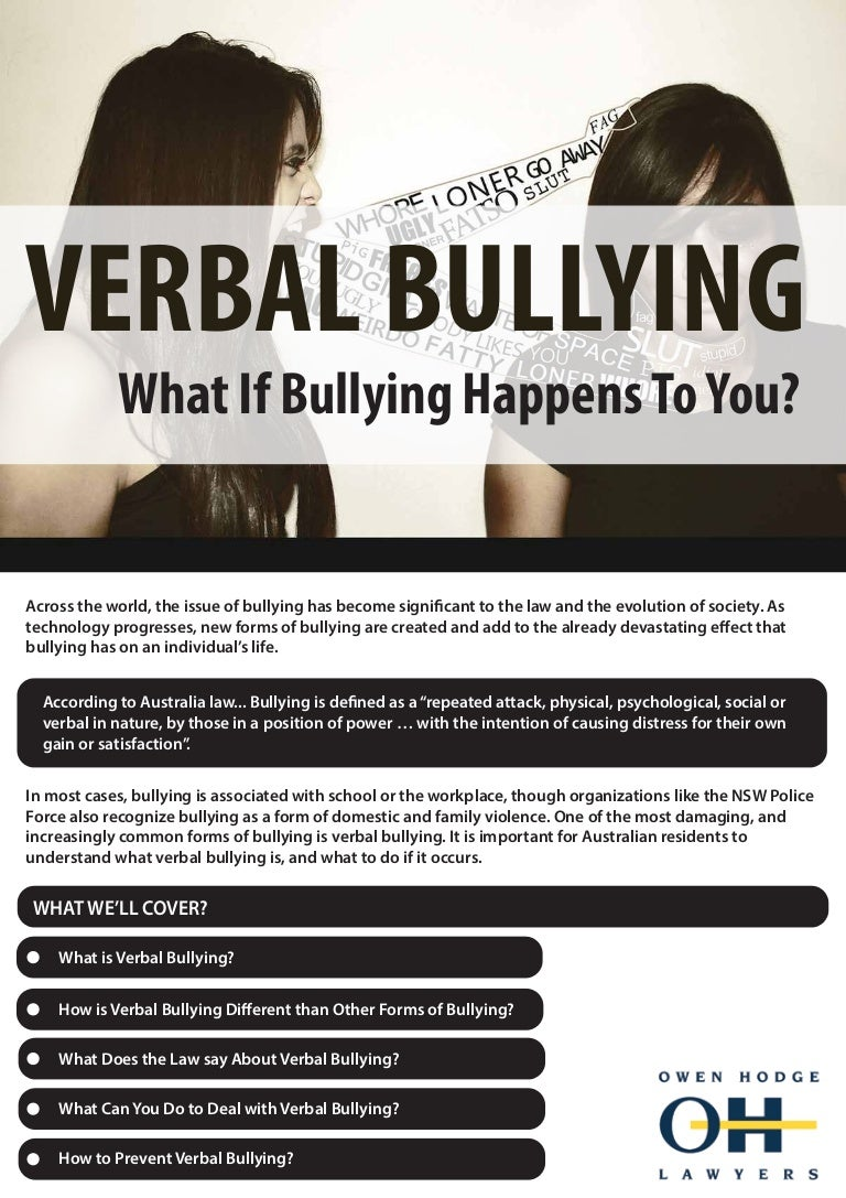 verbal bullying: what if bullying happens to you?