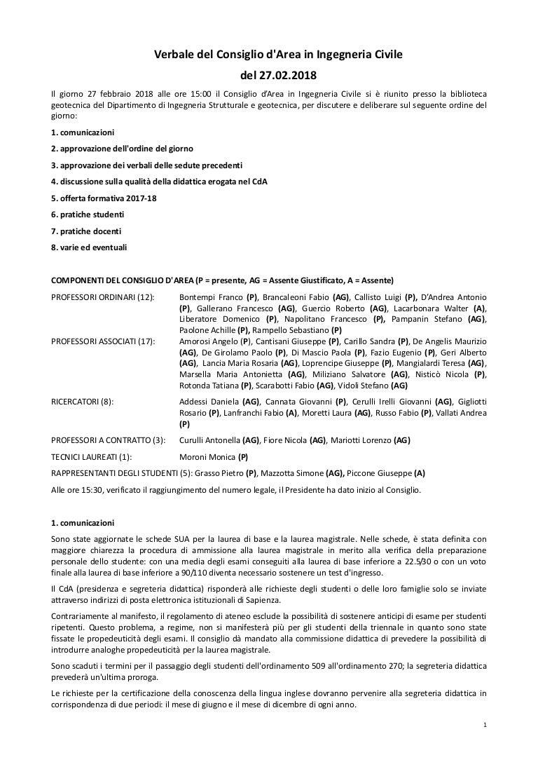 Calendario Didattico Sapienza Ingegneria.Verbale Consiglio D Area Ingegneria Civile 27 02 18