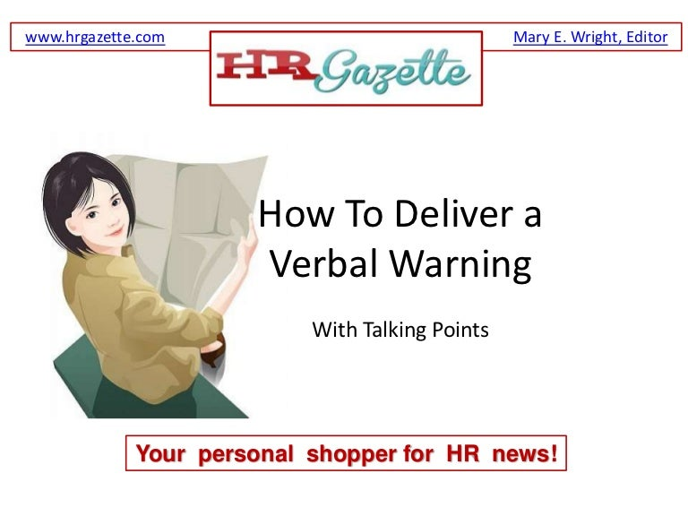 How To Deliver A Verbal Warning An Employee Plus Talking Points