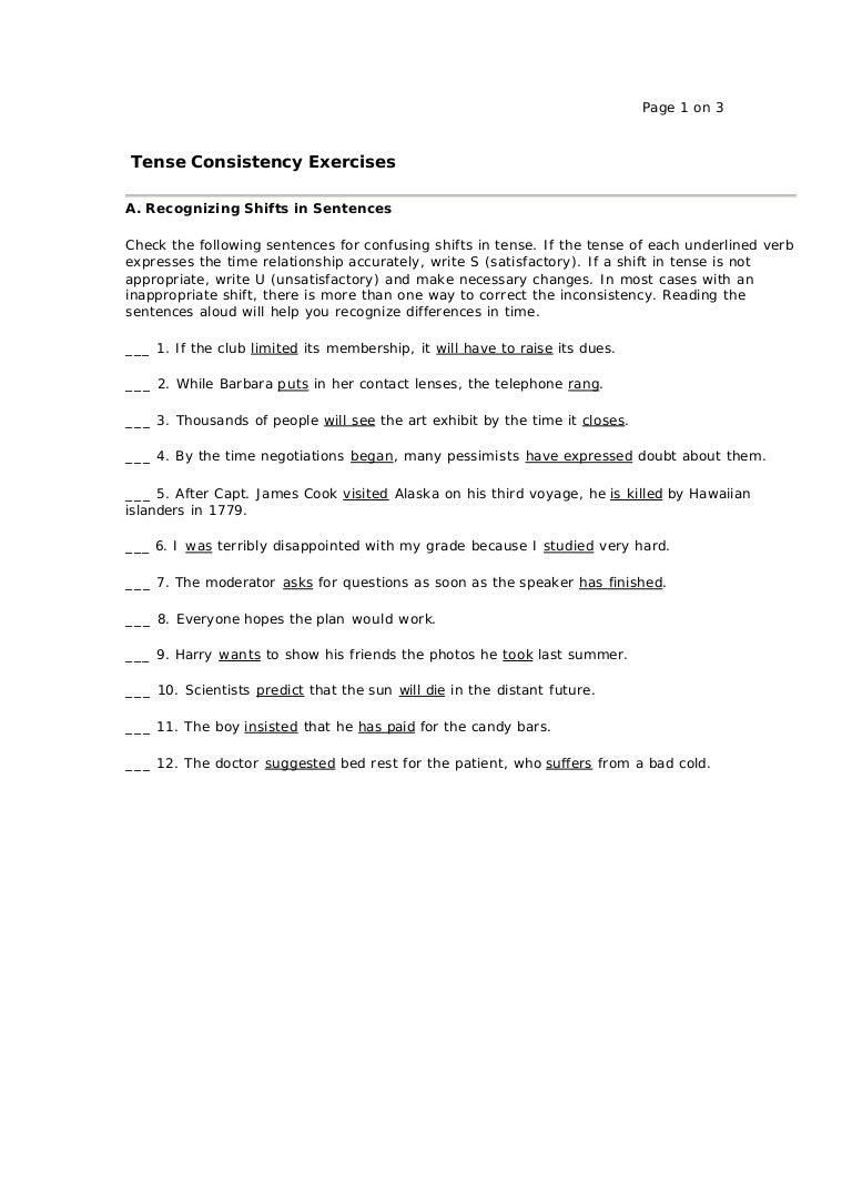 worksheet Verb Tense Consistency Worksheet verb tense consistency worksheet worksheets for school pigmu exercise 1