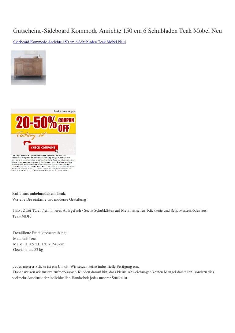 Verkaufen Gutscheine Sideboard Kommode Anrichte 150 Cm 6 Schubladen T