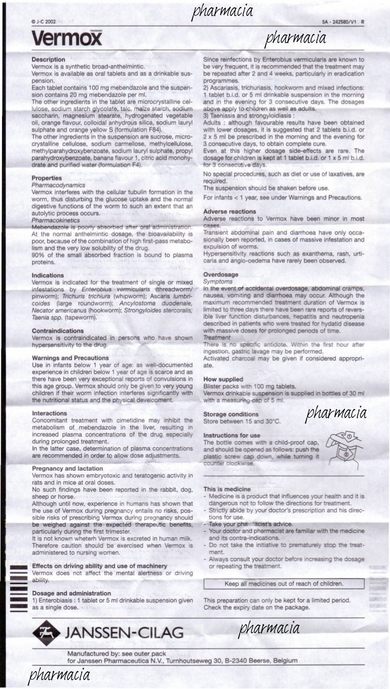 Vermox tablets: instructions for use 97