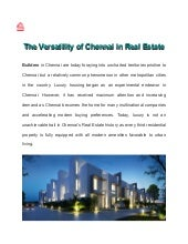 Versatility of Chennai in Real Estate