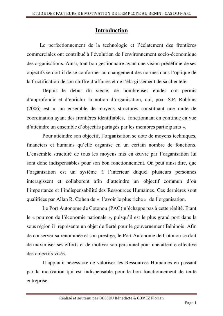 Facteurs De Motivation De L Employe Beninois Cas Du Port Autonome De